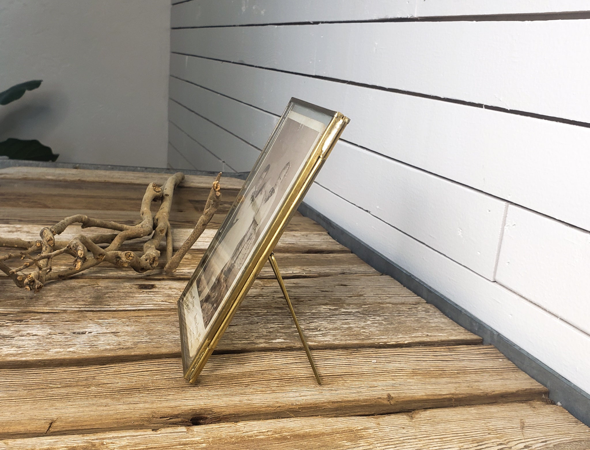 Brass trimmed photo frame
