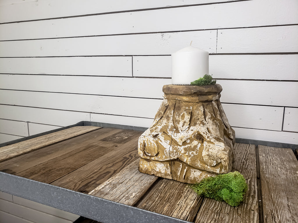 Small Distressed Wood Pedestal