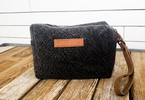 Charcoal Woven Makeup Bag