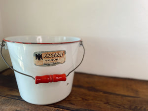 Vintage White and Red Enamel Pail. Home decor and styling by At the Farmhouse.