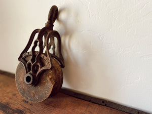 Vintage Wrought Iron Pulley