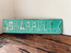Vintage Teal Shappell Street Sign