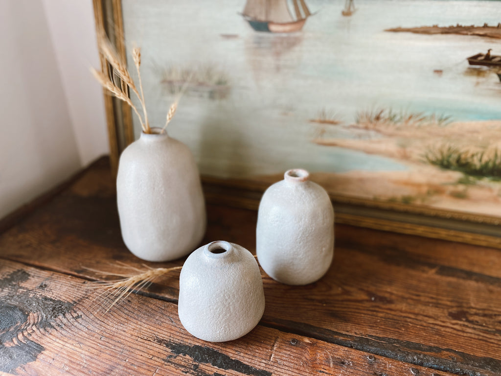 Set of 3 Terra Cotta Bud Vases. Home decor and styling services by At the Farmhouse.