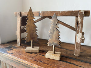 Give your home some vintage Christmas cheer with these antique brass metal trees on a wooden base! Holiday home decor and home styling services by At the Farmhouse.