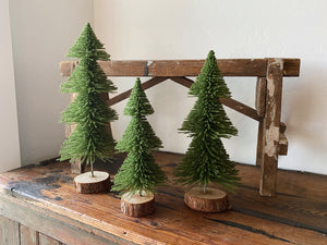 "Give your home some Christmas cheer with these adorable green bristle trees! 3 sizes available: Small: 4"" round x 10"" tall, Medium: 4.5"" round x 12"" tall, Large: 5"" round x 15"" tall. Holiday home decor and home styling services by At the Farmhouse."