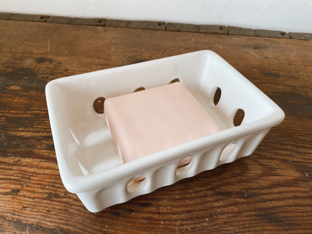 White Berry Basket Ceramic Soap Dish. Home decor products and home styling services by At The Farmhouse.