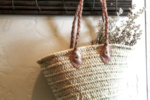 Braided Leather Handle Market Basket. Styling and home decor by At the Farmhouse.