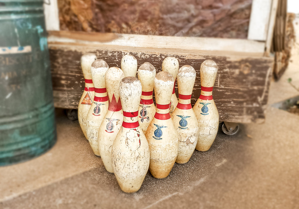 Vintage Bowling Pin. Home decor and styling by At the Farmhouse.