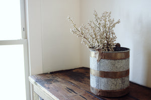Galvanized Banded Bucket. Home Decor and Styling by At the Farmhouse.