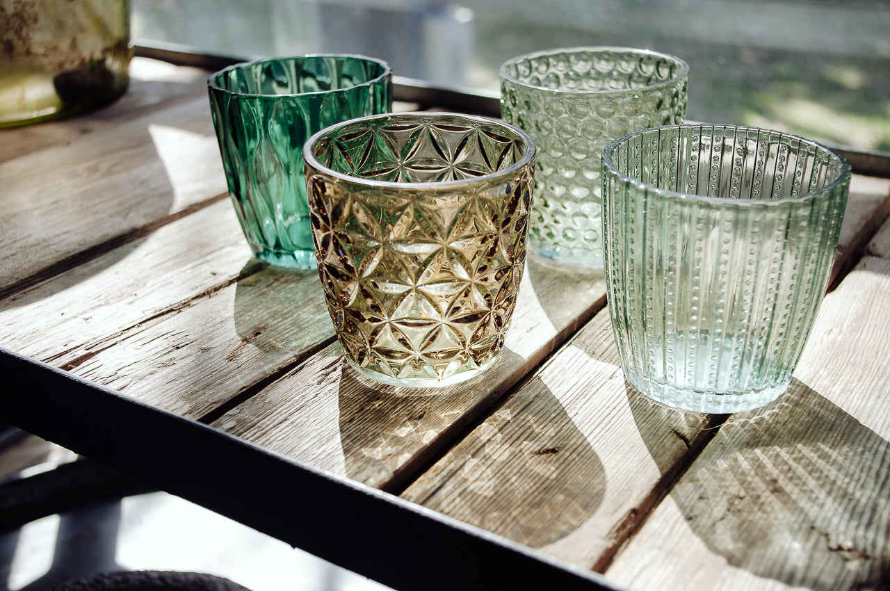 Set of 4 Green Glasses. Home decor and styling by At the Farmhouse.