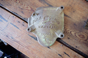 Vintage Cast Iron John Deere Cover. Home decor and styling by At The Farmhouse.