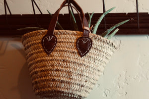 Woven market purse. Home styling and decor from At the Farmhouse.