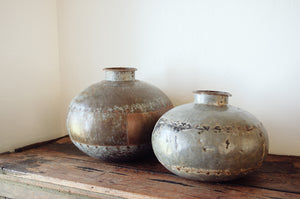 Vintage Metal Indian Water Pot. Home decor and styling by At the Farmhouse.