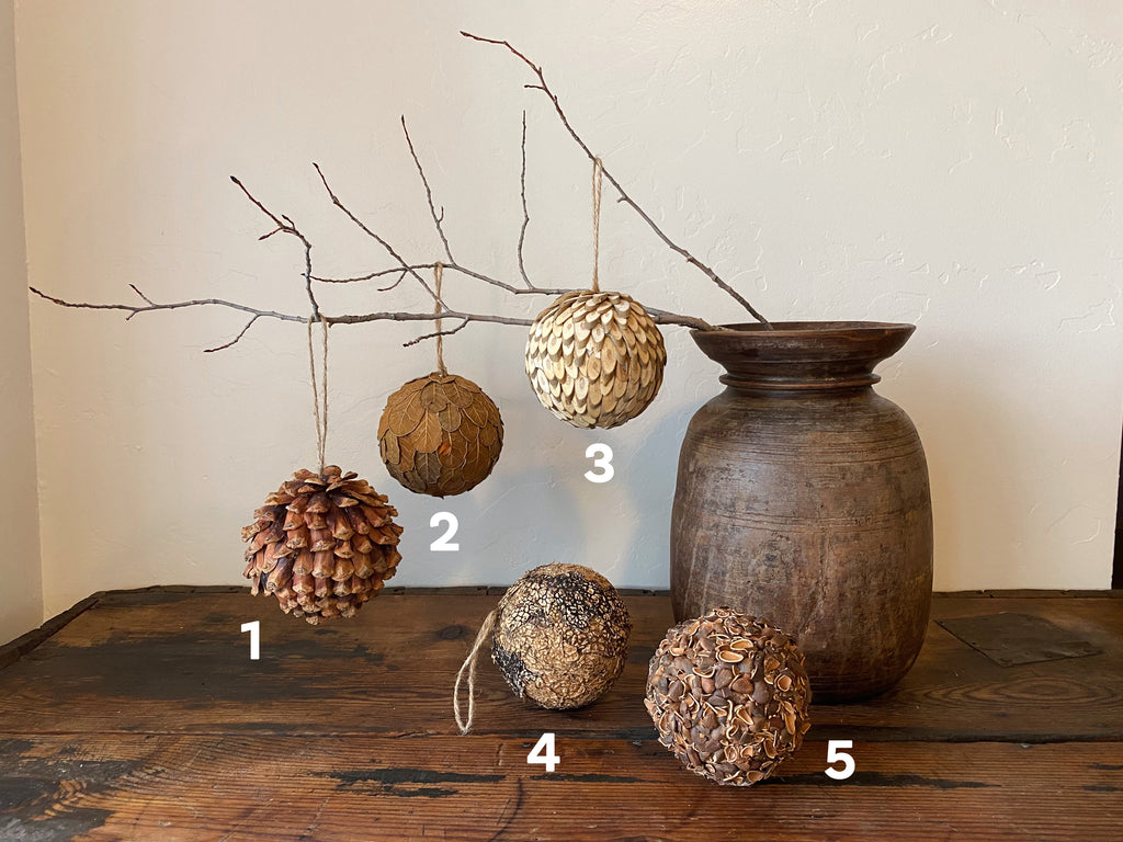 Give your home some Christmas cheer with nature inspired ornaments! Sold separately, 5 styles available. Holiday home decor and home styling services by At the Farmhouse.