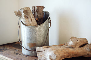 Slanted Galvanized Pail. Home Decor and Styling by At the Farmhouse.