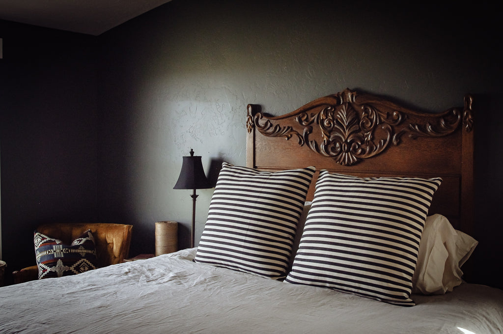 Black and Cream Striped Pillow