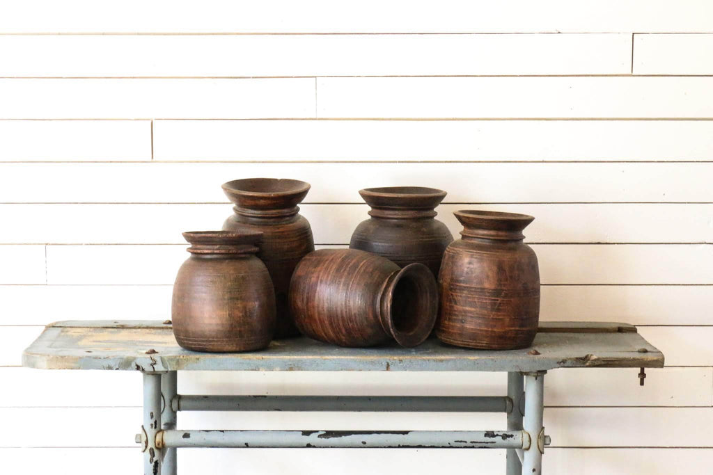 Wooden Indian Milk Jugs | At the Farmhouse
