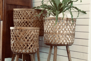 Woven Baskets with Removable Legs. Set of 3. Styling and decor by At the Farmhouse
