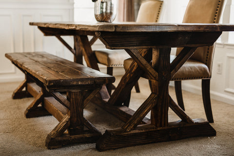 Custom Handmade Furniture Table and Bench