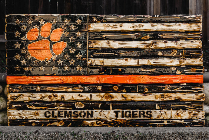 Clemson University Tigers Handmade Wooden Flag
