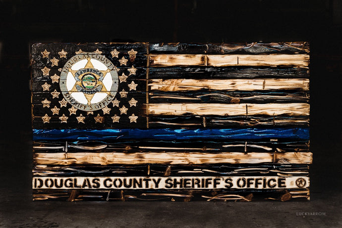 Police Department Handcrafted Whitewood Flag