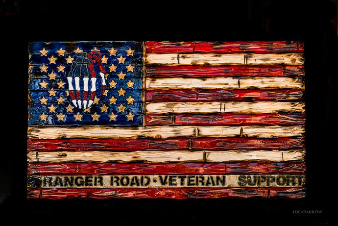 Military Veterans Handcrafted Whitewood Flag