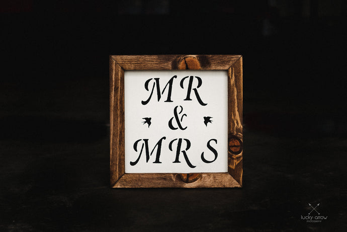 Mr. and Mrs. Framed Sign Minimalistic Rustic