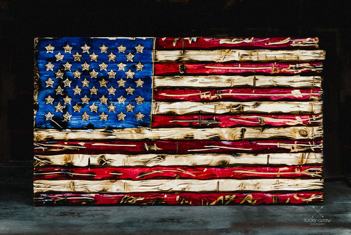 USA Handcrafted Whitewood Flag