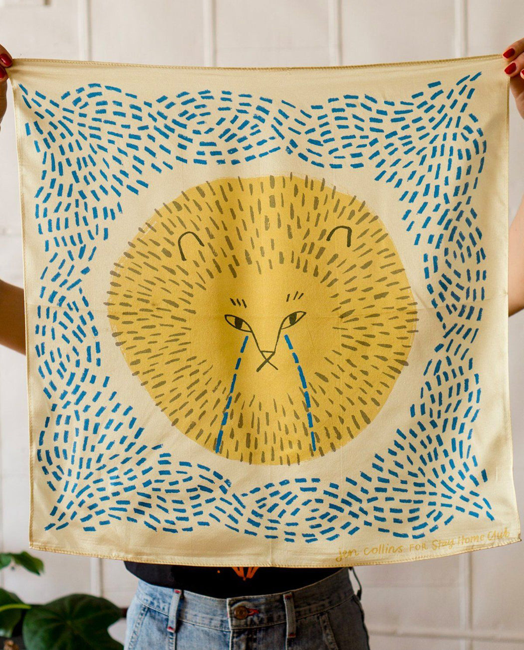 Cryin' Lion Silk Scarf by Stay Home Club