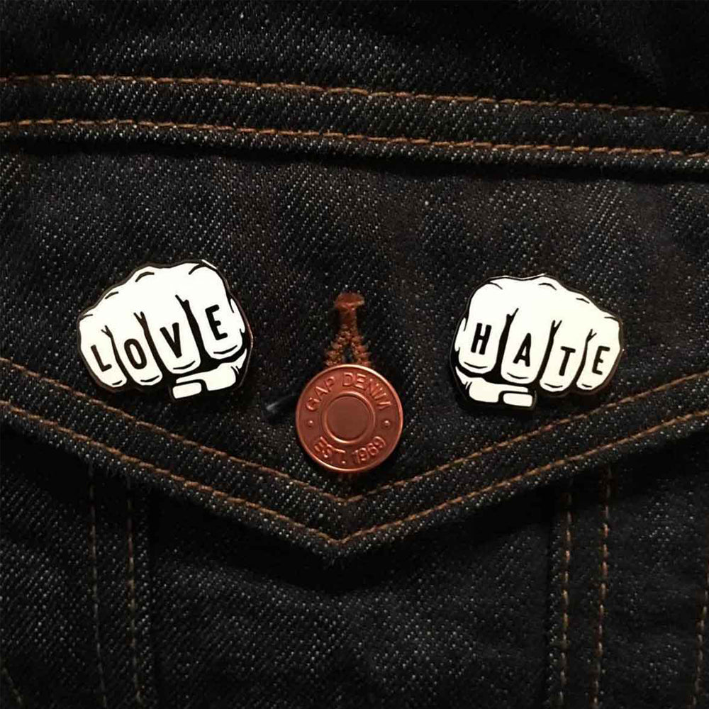 Love vs. Hate Enamel Pin Set, Cattywampus Press