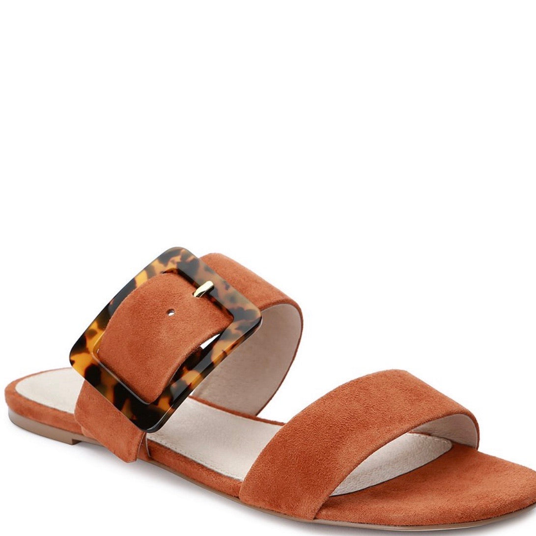 Sanctuary Shimmy Buckle Suede Slide Sandals