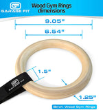 Wood Gym Rings with Straps - 1.25 Inch