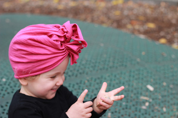 Vida and Co merino ruffle headwrap hat fuchsia