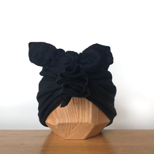 Vida & Co Merino Ruffle Headwrap - Black