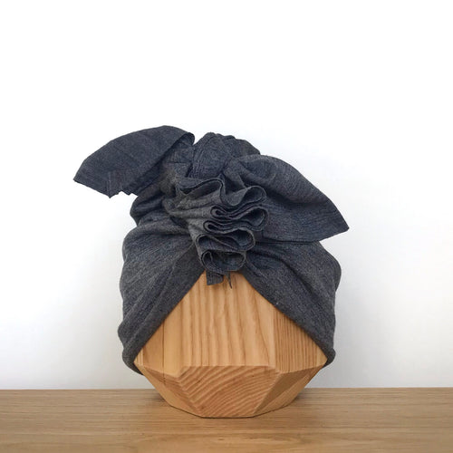 Merino Ruffle Headwrap | Dark Grey Marle