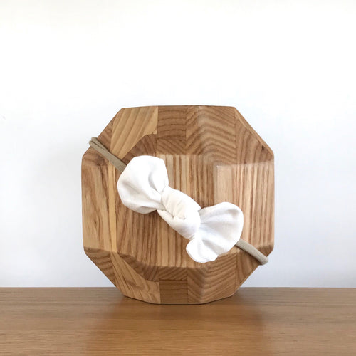 Vida & Co Fabric Bow Headband - White Linen