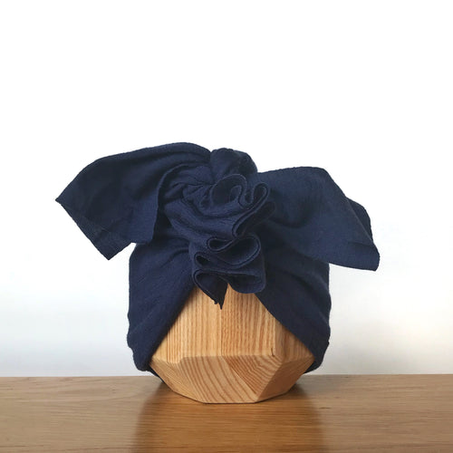Vida & Co Merino Ruffle Headwrap - Navy