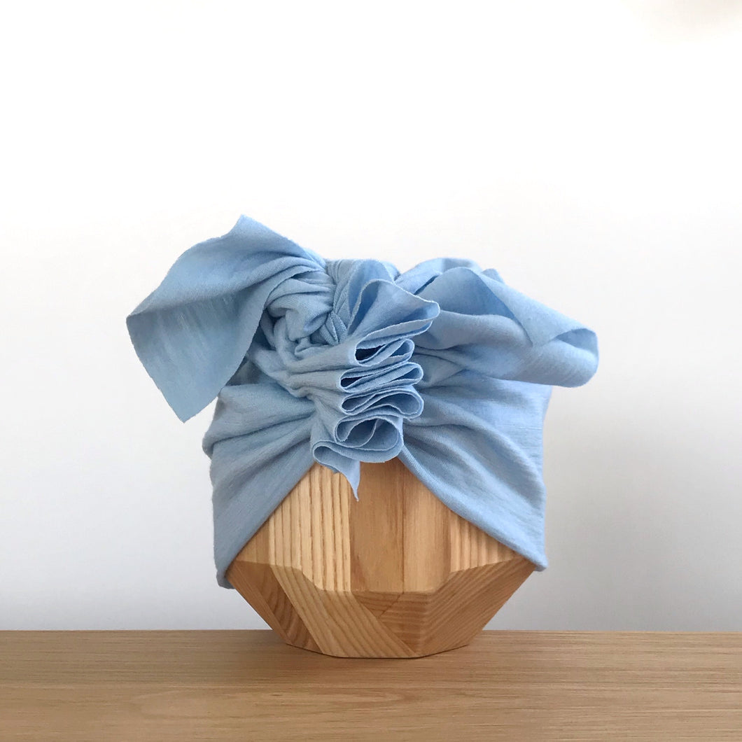 Merino Ruffle Headwrap | Forget-me-not
