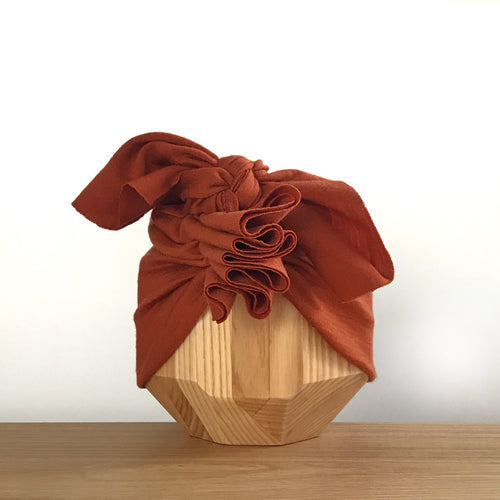 Vida & Co Merino Ruffle Headwrap - Rust