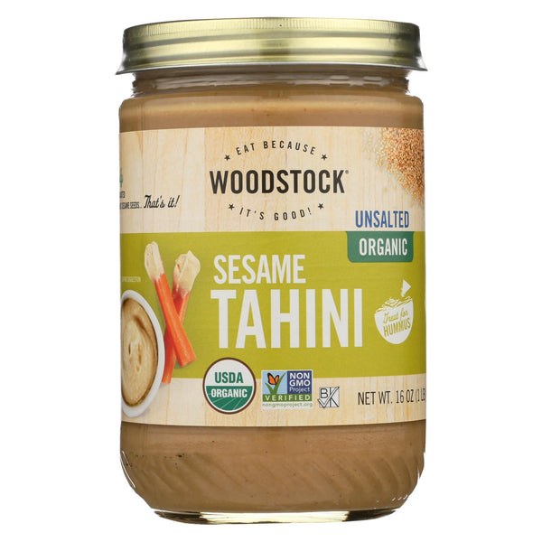 Woodstock Organic Tahini - Unsalted - Case of 12 - 16 oz