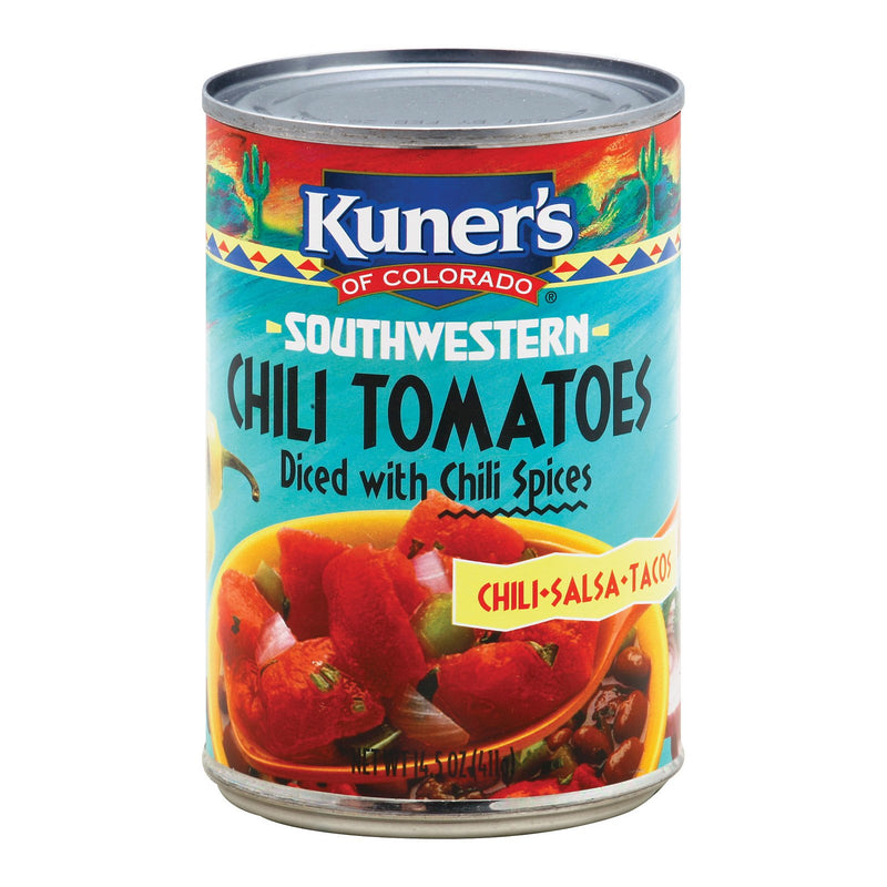 Kuner Diced Tomatoes - Chili Spices - Case of 12 - 14.5 oz