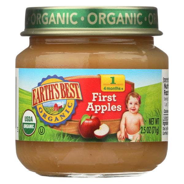 Earth's Best Organic First Apples Baby Food - Stage 1 - Case of 12 - 2.5 oz