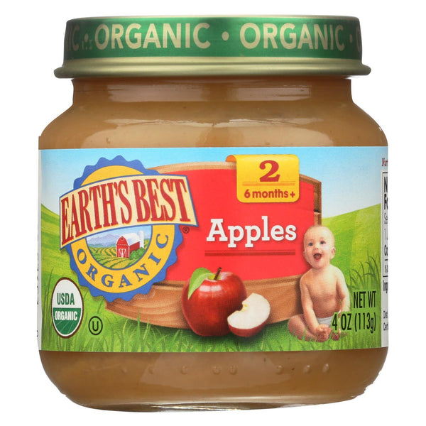 Earth's Best Organic Apples Baby Food - Stage 2 - Case of 12 - 4 oz