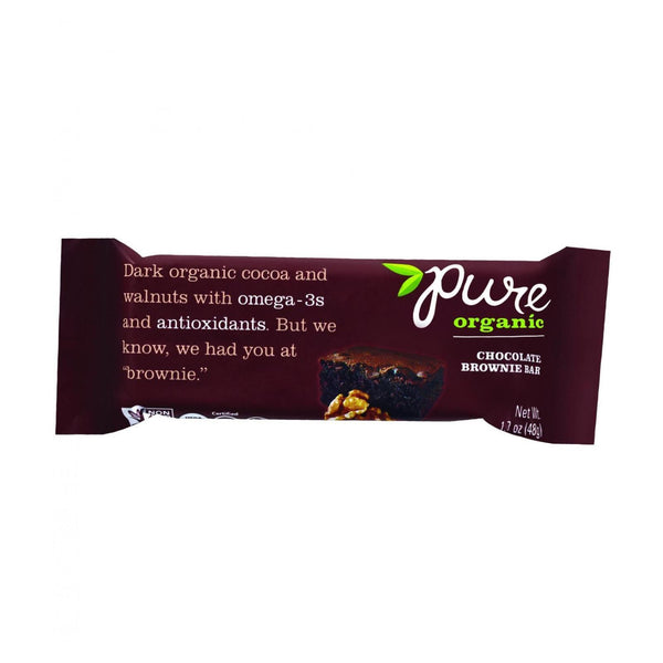 Pure Organic Pure Fruit and Nut Bar - Organic - Chocolate Brownie - 1.7 oz bars - Case of 12