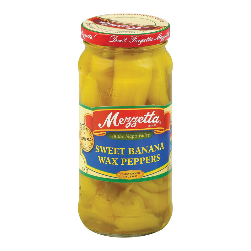 Mezzetta Sweet Banana Wax Peppers - Banana Peppers - Case of 6 - 16 oz