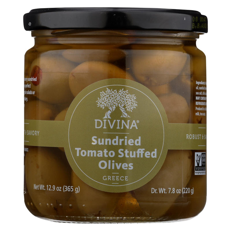Divina Olives Stuffed With Sundried Tomatoes - Case of 6 - 7.8 oz