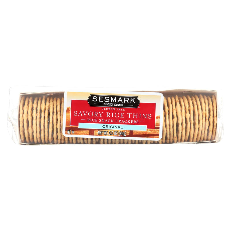 Sesmark Foods Savory Rice Thins - Original - Case of 12 - 3.2 oz