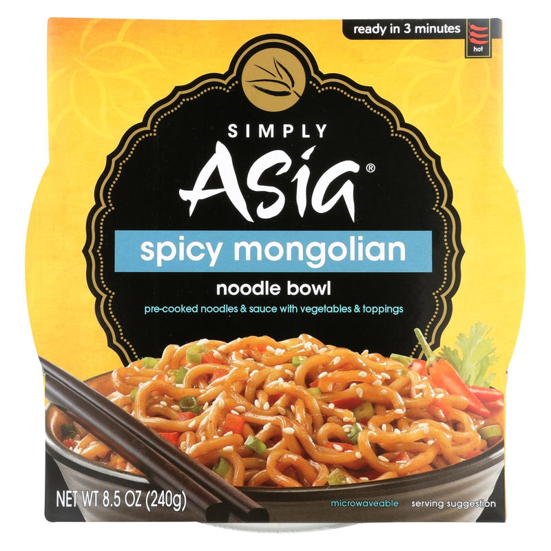 Simply Asia Spicy Mongolian Noodle Bowl - Case of 6 - 8.5 oz
