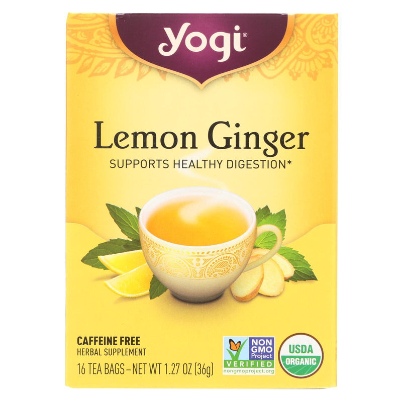 Yogi 100% Natural Herbal Tea Caffeine Free Lemon Ginger - 16 Tea bags - Case of 6