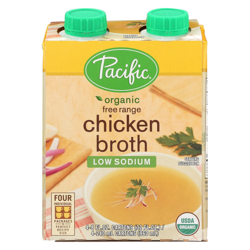 Pacific Natural Foods Free Range Chicken Broth - Low Sodium - Case of 6 - 8 fl oz